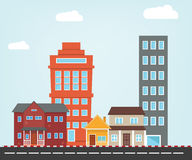 Small City  illustration with flat style Stock Photography