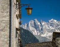 Small city lantern in Soglio Val Bregaglia, Graubunden, Switzerland royalty free stock image