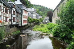 Small city Monschau in Germany is situated at a height of 350-650 meters Royalty Free Stock Photos