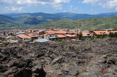 Small city near volcano Etna. Royalty Free Stock Photos