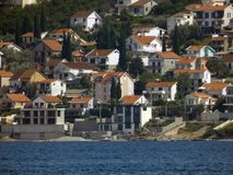 Small city on a shore. Of Adriatic Sea royalty free stock image