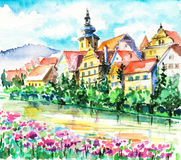 Small city in spring Stock Photography