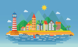 Small city urban landscape illustration. Cartoon cityscape on the mountains background. Near ocean sea beach. Harbor port village Royalty Free Stock Photography
