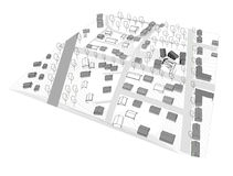 Small city urban spaces in 3D model Stock Photography