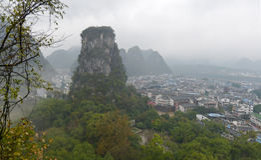 Small city Yangshuo (阳朔; Yáng shuò), China Royalty Free Stock Image