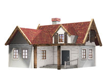 Small clapboard siding house with red roof isolated on a white background, little cottage, 3D illustration Stock Photos