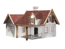 Small clapboard siding house with red roof isolated on a white background, little cottage, 3D illustration Stock Photo