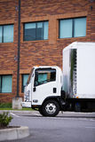 Small class engine semi truck delivery vehicle cargo transportat Stock Photo