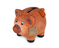 Small clay piggy bank Royalty Free Stock Photography