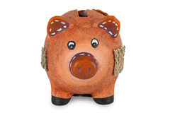 Small clay piggy bank Royalty Free Stock Image