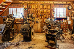 Small clog workshop in Zaanse Schans. royalty free stock image