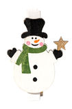 Small clothespin with a snowman, Christmas motifs, close-up Stock Photo