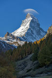 Small cloud over Matterhorn peak, view from Zermatt, Switzerland. Small cloud over Matterhorn peak, view from Zermatt, Canton of Valais, Switzerland royalty free stock photo