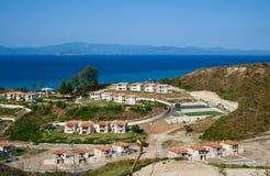 Small coastal town. Blue sea and sky. Greece, Kassandra, Halkidiki royalty free stock photos
