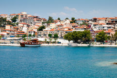 Small coastal town of Greek Stock Photo