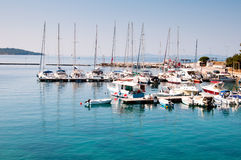 Small coastal town of Greek Stock Images