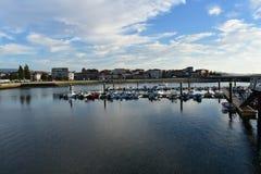Small coastal village with boats and port. Cambados, Galicia, Spain. royalty free stock photography