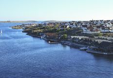 Small coastal village in Scandinavia during summer stock images