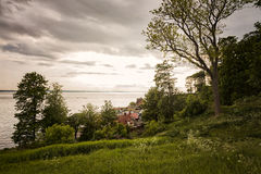Small coastal village in Sweden. Image of small coastal village on the west coast of Sweden, with Denmark in the distance royalty free stock images