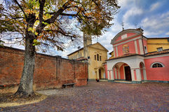 Small cobbled courtyard. Barolo, Italy. Royalty Free Stock Photo