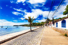 Small cobbled street on seaside in Buzios, Brazil stock photography