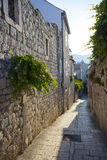 Small cobblestone street in Rab, Croatia Royalty Free Stock Photo