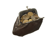 Small coins in old wallet with metal clasps isolated on white ba Royalty Free Stock Photos