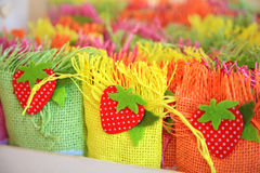 Small color baskets with sugar candys. Small color baskets with sugar sweets for gifts Stock Images