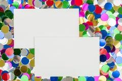 Small color confetti and empty card Stock Image