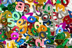 Small color numbers confetti background Royalty Free Stock Image