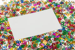 Small color numbers confetti and empty card Stock Image