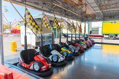 Small colored bumper cars for children royalty free stock photography