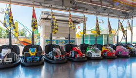 Small colored bumper cars for children royalty free stock photo