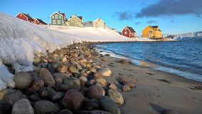 Small colored houses in northern Norway Royalty Free Stock Photo