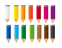 Small colored pencils. Isolated over white background. vector Stock Photos