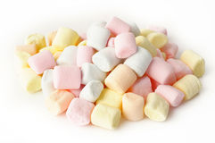 Small colored puffy marshmallows isolated Royalty Free Stock Images