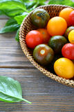 Small colored tomatoes in a basket Stock Image