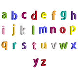 Small colorful alphabet 3D letters Stock Photos