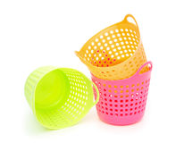 Small and colorful baskets on white background Royalty Free Stock Images