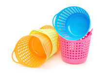 Small and colorful baskets on white background Royalty Free Stock Photography