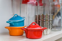 Small colorful ceramic pots royalty free stock image