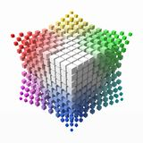 Small colorful cubes builds up color theory cube. smaller cubes on corners. 3d style vector illustration. Suitable for any banner, ad, technology and abstract vector illustration