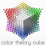 Small colorful cubes builds up color theory cube. smaller cubes on corners. 3d style vector illustration. Suitable for any banner, ad, technology and abstract royalty free illustration