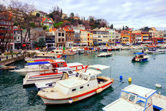 Small colorful harbor in Istanbul city, Turkey Royalty Free Stock Photos