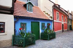 Small colorful houses, the Golden street. Prague, Czech Republic Royalty Free Stock Images