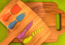 Small Colorful Set of Kitchen Cuterly on a Board For Kids, Various type of Knife Stock Images