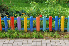 Small colorful wooden fence. Stock Photography