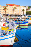 Small colorful wooden fishing boats in Ajaccio Royalty Free Stock Photo
