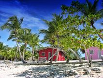 Small and Coloured Homes on the Beach Stock Photos