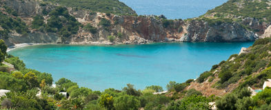 Small colourful bay near Istron closeup Royalty Free Stock Image
